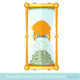 Flat business icon sand hourglass with money bill Stock Image