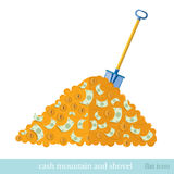Flat business icon shovel with heap of money Royalty Free Stock Photos