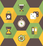 Flat business icons in brown hexagons C Royalty Free Stock Images