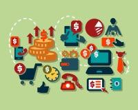 Flat business icons royalty free illustration