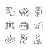Flat business icons. Vector black flat business icons on white Royalty Free Stock Photography
