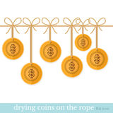 Flat business illustration coins dry on rope Stock Image