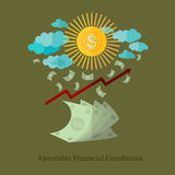 Flat business illustration favorable financial condition Royalty Free Stock Photography