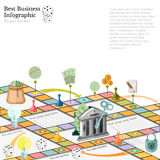 Flat business infographic background with financial board game. Game cells dice game pieces money Royalty Free Stock Images