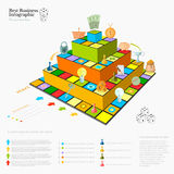 Flat business infographic background with financial board piramide game. Game cells, dice, game pieces, money, pointer, icon etc Royalty Free Stock Photography