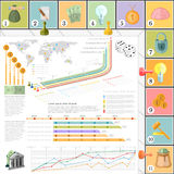 Flat business infographic background top view with finanial board game vector illustration