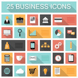 Flat 25 business and marketing web icons. Set with long shadows Royalty Free Stock Image
