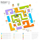 Flat business maze info graphic Royalty Free Stock Photos