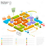 flat business maze infographic background with finanial board game stock illustration