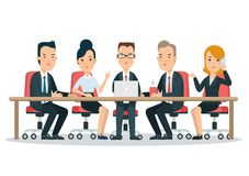 Flat business meeting room report . People s. Flat business meeting room, report or presentation web infographic . Group businesspeople sitting, looking to Royalty Free Stock Image