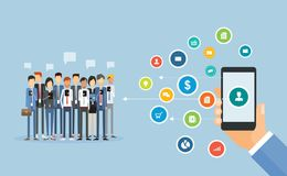 Business mobile marketing online content   and social network. Flat business mobile marketing online content concept and social network connection to people Royalty Free Stock Images