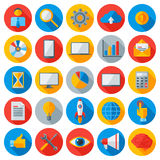 Flat business and mobile technology icons. Vector Illustration. Management and Online Marketing. Startup, Communication Technologies, Idea Concept, Time is Royalty Free Stock Photo