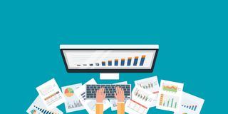 Flat business monitoring investment and finance report Stock Photography