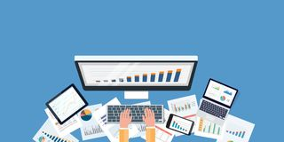 Flat business monitoring investment and finance report Royalty Free Stock Image