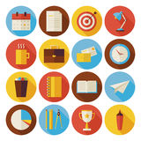 Flat Business and Office Circle Icons Set with long Shadow stock illustration