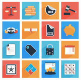 Flat  business and office icons with long shadow,. SEO website, web and mobile apps. Illustration Stock Photos