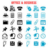 Flat business and office icons set Royalty Free Stock Photos