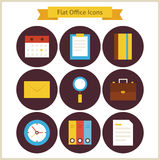 Flat Business and Office Icons Set Stock Photo