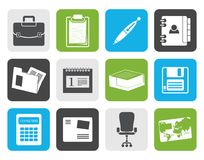 Flat Business and office icons. Vector icon set royalty free illustration