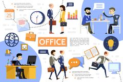 Flat Business Office Infographic Template. With managers businessmen clock workplace briefcase lightbulb notepad calendar letter globe computer icons vector Royalty Free Stock Photos