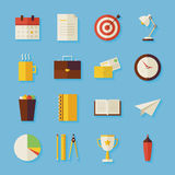 Flat Business and Office Objects Set with Shadow. Business and Office Objects Set with Shadow. Flat Styled Vector Illustrations. Back to School. Science and Stock Image