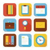Flat Business and Office Squared App Icons Set Stock Photo