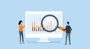 Flat business people analytics and monitoring investment and finance. Report graph on monitor concept Royalty Free Stock Images