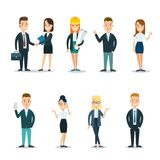 Flat business people characters  icon set. Flat style business people characters  icon set collection. Male and female persons in office clothes. Businessmen and Stock Image
