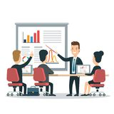 Flat business people characters  icon set. Flat style business people characters in presentation meeting room  icon set collection. Male and female persons in Stock Photo