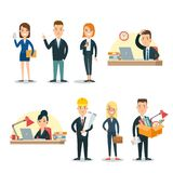 Flat business people characters  icon set. Flat business people characters workplace  icon set. Male and female persons in strict elegant office clothes Royalty Free Stock Image