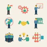 Flat business people meeting icons set vector illustration