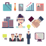 Flat business people meeting icons set of Royalty Free Stock Photo