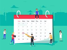 Flat Business People Planning and Scheduling Operation by Drawing Circle Mark on Desk Calendar. Stock Image