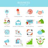Flat Business Project Startup Elements Set. With financial marketing planning strategies teamwork investments isolated vector illustration Royalty Free Stock Photography