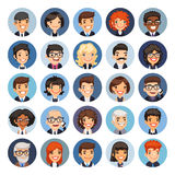 Flat Business Round Avatars on Color. Set of 25 flat business round avatars on color circles. Office people. Clipping paths included Stock Images