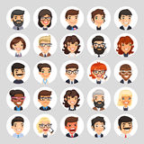 Flat Business Round Avatars on White. Set of 25 flat business round avatars on white circles. Office people. Clipping paths included Stock Photos
