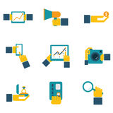 Flat business shopping and travel hands trendy flat isolated icons set vactor illustration Stock Images