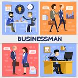 Flat Business Square Concept. With businessmen managers lightbulb clock calendar speech clouds letter graph documents icons vector illustration Royalty Free Stock Photos