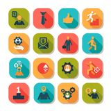Flat business success icons set Royalty Free Stock Images