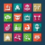 flat fitness and health icons set Royalty Free Stock Images