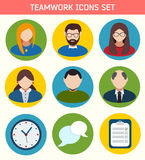 Flat Business Teamwork Icons Set. Royalty Free Stock Photo