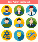 Flat Business Teamwork Icons Set. Royalty Free Stock Images