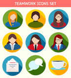 Flat Business Teamwork Icons Set. Stock Photo