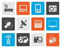 Flat Business, technology  communications icons. Vector icon set Stock Photo