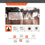 Flat Business Website template with Waterfall Illustraion Stock Photography