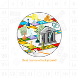 Flat business white background and circle frame with color finanial board game Royalty Free Stock Photo