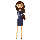 Flat business woman. Calm young girl standing. Serious cute business girl. Vector. Stock Photo