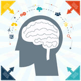 Flat Businessman Brain Headmind Social Network Media Icon Infographics Vector illustration Stock Photo