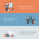 Flat businessman presentation partnership financial plan concept. Flat businessman presentation, partnership deal handshake to succeed, financial plan concept Royalty Free Stock Photography