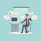Flat businessman and workplace Royalty Free Stock Photos